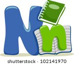 Illustration Featuring the Letter N - stock vector