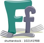 Illustration Featuring the Letter F - stock vector