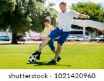 young happy father and excited... | Shutterstock . vector #1021420960