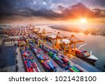 logistics and transportation of ... | Shutterstock . vector #1021428100