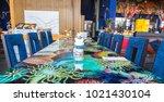 colorful hotel restaurant...   Shutterstock . vector #1021430104