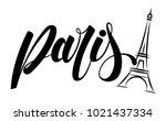 paris and eiffel tower logo...   Shutterstock .eps vector #1021437334