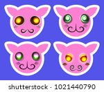 set of isolated emoji faces... | Shutterstock . vector #1021440790