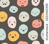 cute cartoon monsters seamless... | Shutterstock .eps vector #1021442350