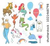set of mythological creatures  | Shutterstock .eps vector #1021468798