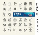 scuba diving and snorkeling... | Shutterstock .eps vector #1021474678