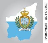 flag  map of san marino | Shutterstock .eps vector #1021479553