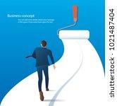 businessman running on the road ... | Shutterstock .eps vector #1021487404