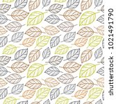 retro leaf seamless pattern | Shutterstock .eps vector #1021491790