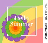 hello summer postcard with... | Shutterstock .eps vector #1021493248