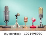 retro old microphones for press ... | Shutterstock . vector #1021495030