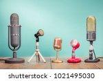 retro old microphones for press ... | Shutterstock . vector #1021495030