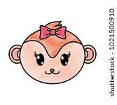 grated female monkey head cute... | Shutterstock .eps vector #1021500910