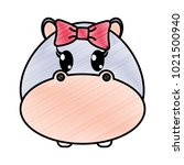 grated female hippopotamus head ... | Shutterstock .eps vector #1021500940