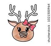 grated female reindeer head... | Shutterstock .eps vector #1021500964