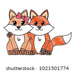 grated fox couple cute animal... | Shutterstock .eps vector #1021501774