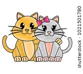 grated couple cat cute animal... | Shutterstock .eps vector #1021501780