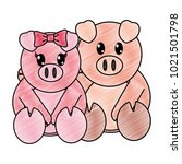 grated pig couple cute animal... | Shutterstock .eps vector #1021501798