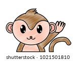 grated adorable monkey cute... | Shutterstock .eps vector #1021501810