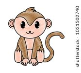 grated monkey cute wild animal... | Shutterstock .eps vector #1021502740