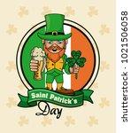 saint patricks elf cartoon card | Shutterstock .eps vector #1021506058