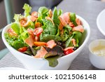 smoked salmon salad in dash... | Shutterstock . vector #1021506148