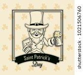 saint patricks elf cartoon card | Shutterstock .eps vector #1021506760