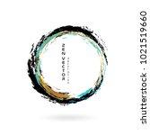 ink zen circle emblem. hand... | Shutterstock .eps vector #1021519660