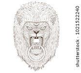 lion head outline illustration   Shutterstock .eps vector #1021522240