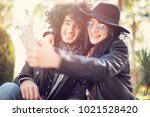 couple having fun and takes...   Shutterstock . vector #1021528420