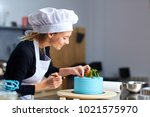 a confectioner woman decoration ...   Shutterstock . vector #1021575970
