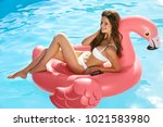 summer style. woman on pink... | Shutterstock . vector #1021583980