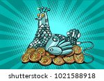 the hen incubates electronic... | Shutterstock .eps vector #1021588918
