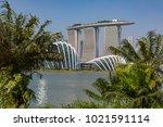 marina bay singapore asia...   Shutterstock . vector #1021591114