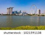 marina bay singapore asia...   Shutterstock . vector #1021591138