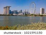 marina bay singapore asia...   Shutterstock . vector #1021591150