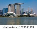 marina bay singapore asia...   Shutterstock . vector #1021591174