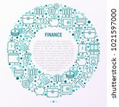 finance concept in circle with... | Shutterstock .eps vector #1021597000