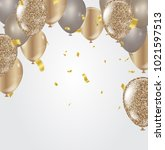gold balloons  confetti and... | Shutterstock .eps vector #1021597513