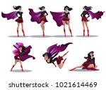 comic superwoman actions in... | Shutterstock .eps vector #1021614469
