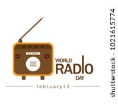 world radio day. radio icon... | Shutterstock .eps vector #1021615774