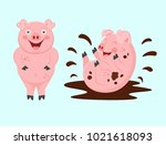 funny pigs. a dirty little pig... | Shutterstock .eps vector #1021618093