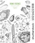 vegetables top view  vertical... | Shutterstock .eps vector #1021622308