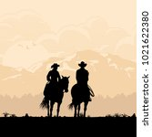 silhouette of cowboy couple... | Shutterstock .eps vector #1021622380