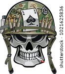 Skull Wearing Military Helmet