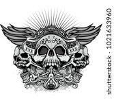 gothic coat of arms with skull  ... | Shutterstock .eps vector #1021633960
