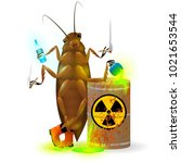 a giant cockroach drinks a... | Shutterstock .eps vector #1021653544