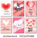 valentines day postcards set... | Shutterstock .eps vector #1021655488