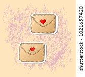 romantic love icons for... | Shutterstock .eps vector #1021657420