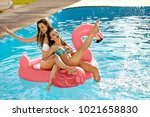 summer fun. fashion girls on... | Shutterstock . vector #1021658830